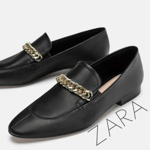 NWT ZARA Black leather gold chain loafers 7.5